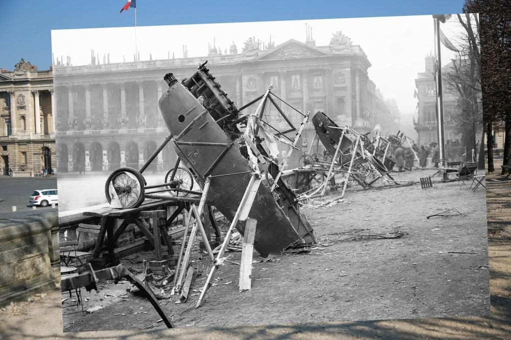 Bangkai Pesawat Foto yang diambil tahun 1918 ini terlihat banyak bangkai pesawat Jerman tergeletak di Place de la Concorde, Paris.